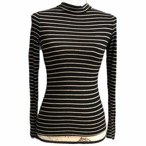 Lulus black white stripe mock neck long sleeve xs